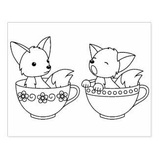 Sello De Caucho Zorros de la taza de té - animales del bebé en una