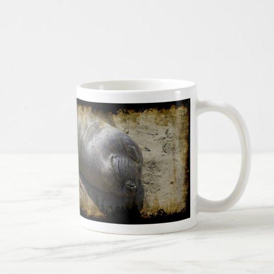 Sello de elefante sonriente taza de café