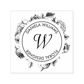Sello de goma floral del monograma de lujo del