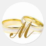Sello de la invitación del monograma M de los anil Etiquetas Redondas