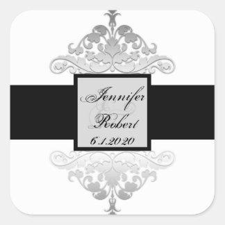 Sello de plata negro blanco del sobre del boda del calcomania cuadradas