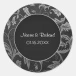 Sello de plata y negro del boda del damasco - pers etiqueta