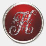 Sello de plata y rojo del sobre del monograma K Pegatinas Redondas