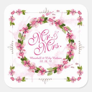 Sello de Sr. y de señora Floral Watercolor Wedding