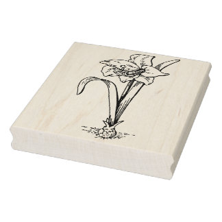 Sello del arte del dibujo lineal de la flor del