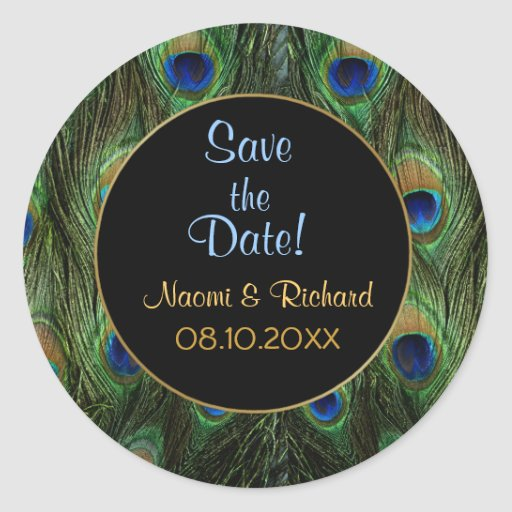 Sello del boda de la pluma del pavo real - pegatina redonda