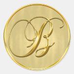 Sello del monograma B del oro Pegatina Redonda