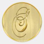 Sello del monograma S del oro Pegatina Redonda