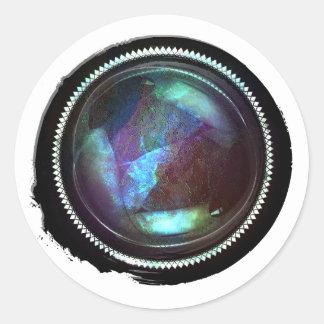 Sello del ópalo del escudo del Topaz místico negro Pegatina Redonda
