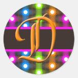 Sello del sobre de la letra del monograma de D Pegatinas Redondas