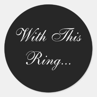 Sello del sobre de los votos de boda pegatina redonda