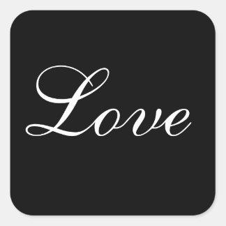Sello del sobre del amor en blanco y negro pegatina cuadrada