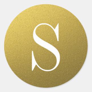 Sello del sobre del monograma del oro del brillo