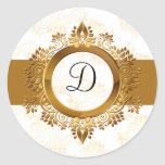 sello del sobre del monograma del oro etiqueta redonda