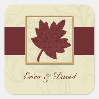 sello del sobre del otoño colcomanias cuadradases
