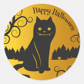 Sello fantasmagórico del pegatina del gato negro