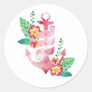 Sello floral del boda del ancla de la playa pegatina redonda