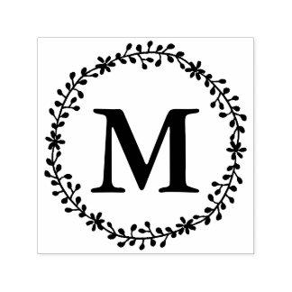 Sello floral del monograma de la guirnalda