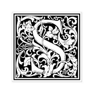 Sello floral del Victorian de la letra S de