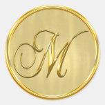 Sello formal del monograma M del boda del oro Pegatina Redonda