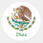 Sello nacional mexicano de Díaz Pegatina Redonda