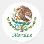 Sello nacional mexicano de Morales Pegatina Redonda