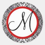 Sello negro y de plata del boda de la franja roja etiquetas redondas