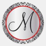 Sello negro y de plata del boda del ajuste del pegatina redonda