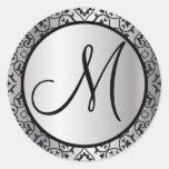 Sello negro y de plata del boda del ajuste del etiquetas redondas