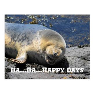 sello, postal feliz de los días de la ha… ha…