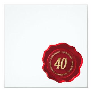 sello rojo de la cera del 40.o aniversario invitación 13,3 cm x 13,3cm