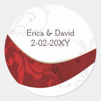 sello rojo del sobre pegatinas redondas