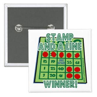 ¡Sello y una línea ganador del botón del bingo del Pin