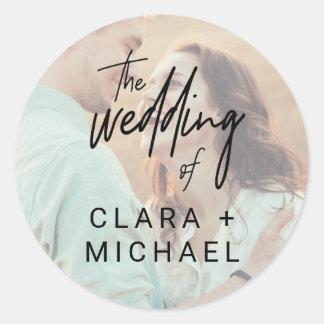 Sellos caprichosos del sobre del boda de la foto