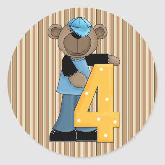 Sellos de los pegatinas del cumpleaños del oso de pegatina redonda
