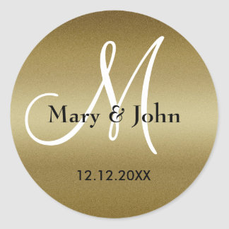 Sellos del monograma del boda de oro