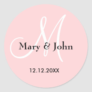 Sellos del monograma del boda del rosa en colores