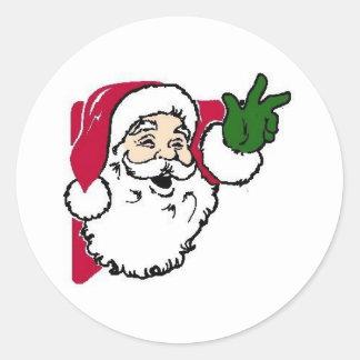 Sellos del sobre de las tarjetas de Navidad Pegatina Redonda
