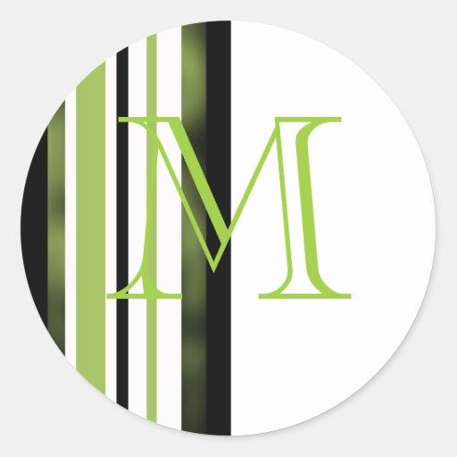 Sellos del sobre del boda del monograma etiqueta redonda
