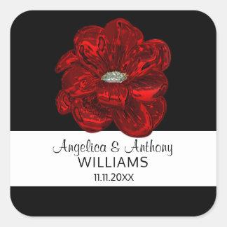 Sellos elegantes del boda de la flor del rosa