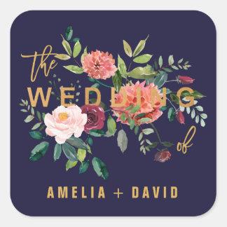 Sellos florales del sobre del boda del otoño