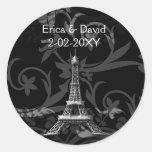 sellos franceses del boda de la torre Eiffel de Pegatina Redonda