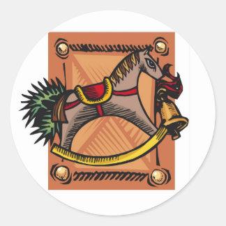 sellos/pegatinas del navidad del caballo mecedora etiqueta redonda