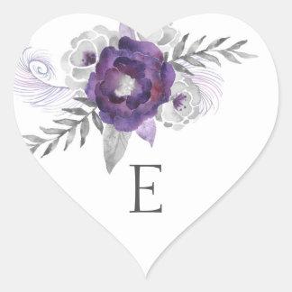 Sellos/púrpura 3963 del sobre del monograma del pegatina en forma de corazón