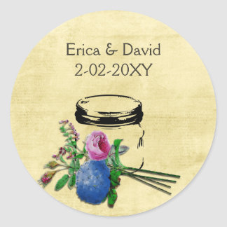 sellos rústicos del boda del tarro de albañil del