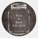 sellos rústicos del boda del tarro de albañil etiquetas redondas