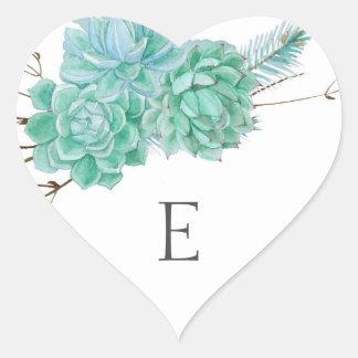 Sellos/succulent 3961 del sobre del monograma del pegatina en forma de corazón