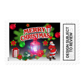 Red Black Green  Santa Poinsettia Postage Stamps