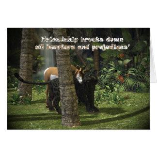 Selva de la tarjeta de la amistad, pantera y cuern