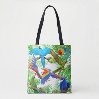 Selva del loro del Macaw por todo la bolsa de asas